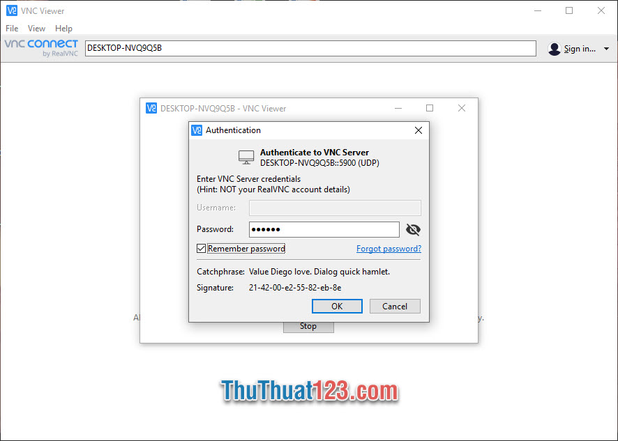Điền mật khẩu vào Password rồi click OK để truy cập