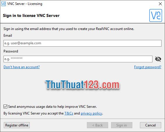 Điền tài khoản của mình vào vị trí Email và mật khẩu vào Password là có thể đăng nhập