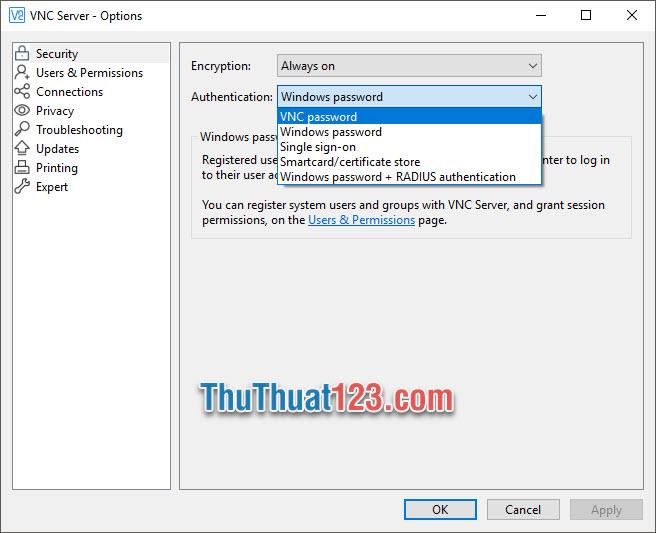 Đổi Authentication thành VNC password rồi bấm OK để xác nhận
