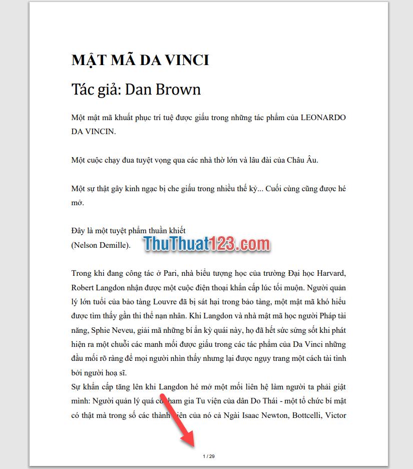 File PDF được tải về máy đã được thêm số trang như các bạn đã cài đặt
