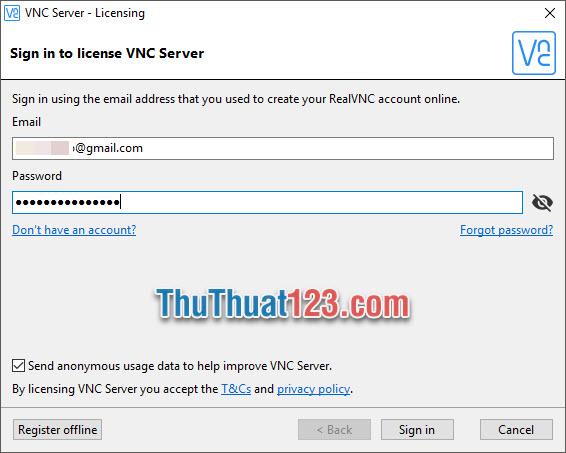 Sử dụng tài khoản để đăng nhập vào VNC Server