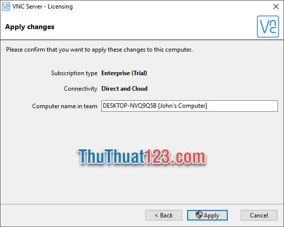 VNC Server sẽ cho phép các bạn đặt tên mới tại Comupter name in team