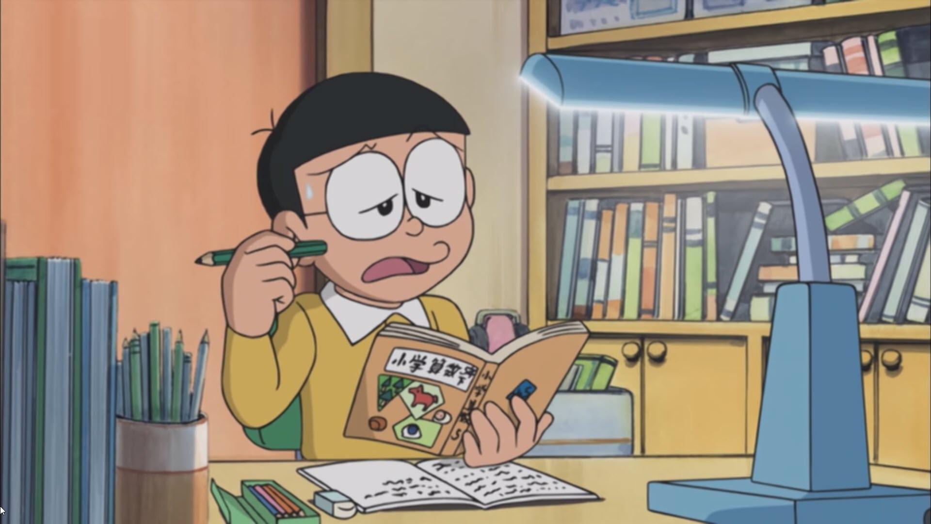 Ảnh Nobita buồn mãi không giải được bài tập