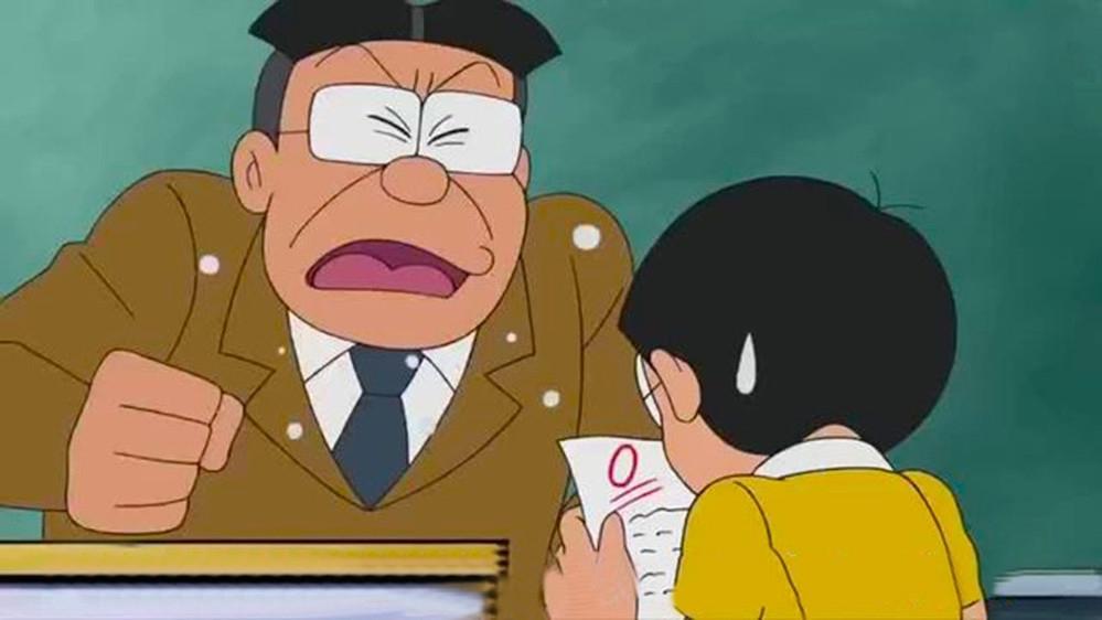 Ảnh Nobita buồn vì thầy giáo mắng