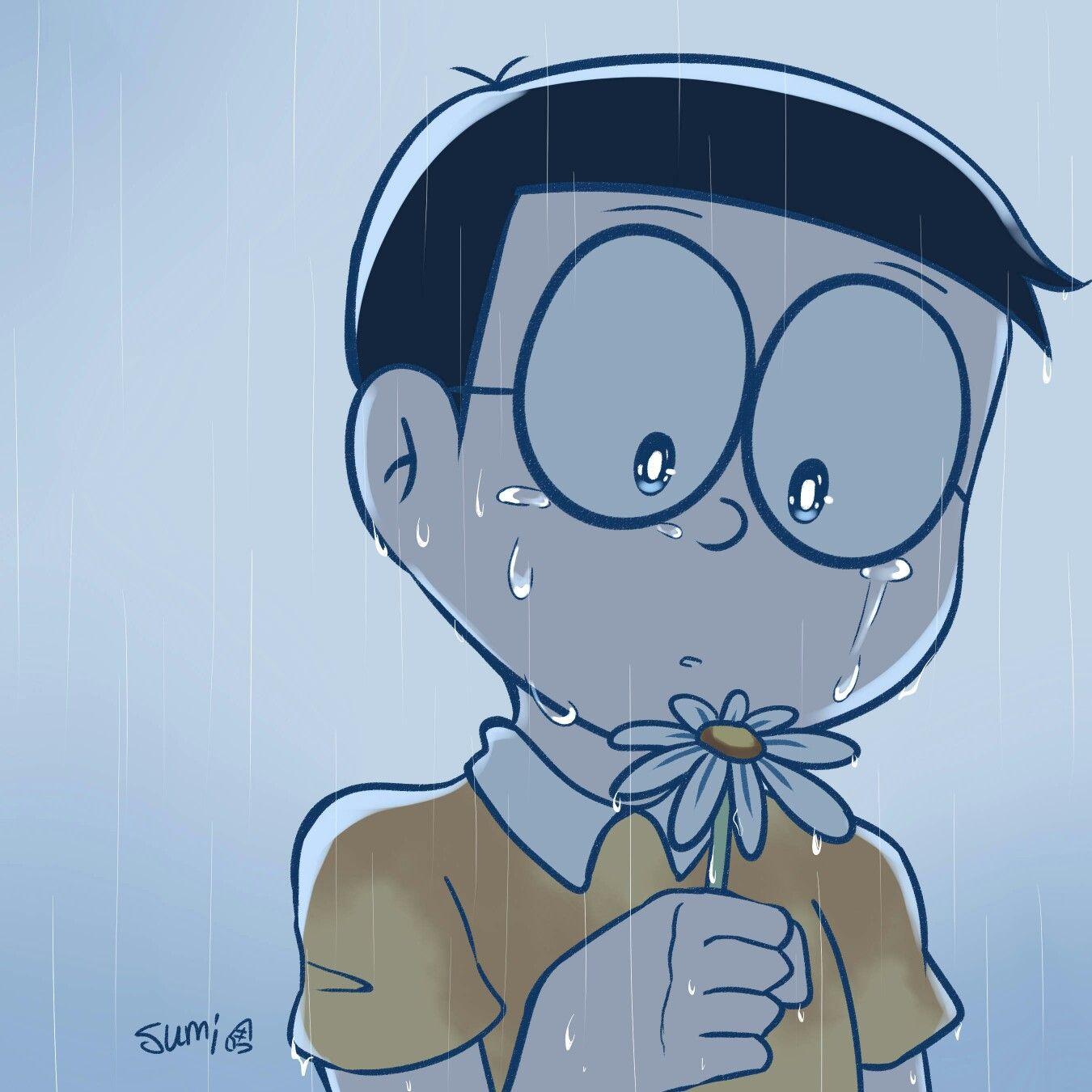 Ảnh Nobita khóc dưới mưa