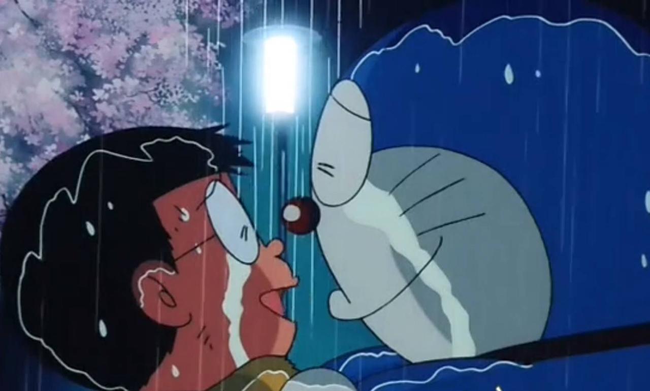 Ảnh Nobita và Doraemon khóc dưới mưa
