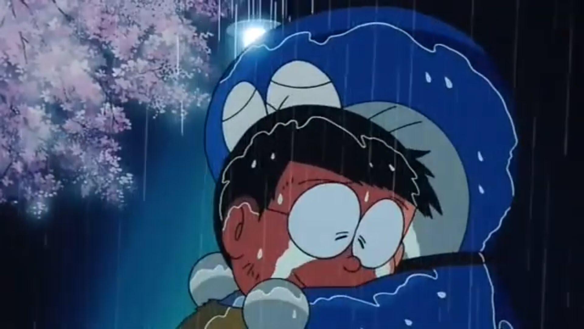 Hình Doraemon và Nobita khóc dưới mưa