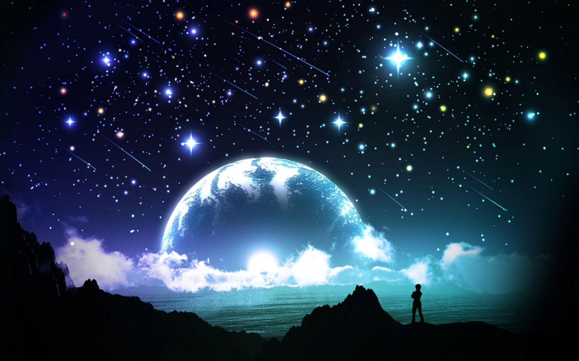 Hình nền bầu trời đêm đầy sao đẹp lung linh