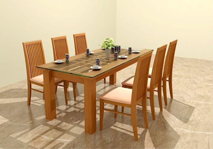 Mẫu bàn ăn gỗ đơn giản cho nhà bếp