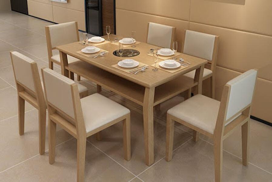 Mẫu bàn ăn gỗ tự nhiên phong cách hiện đại đẹp nhất