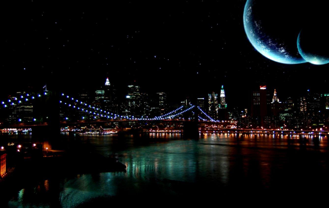Moon Night City Wallpaper