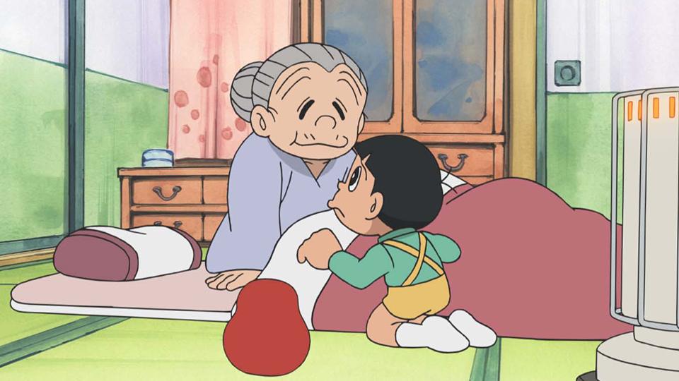 Nobita buồn bên Bà nội