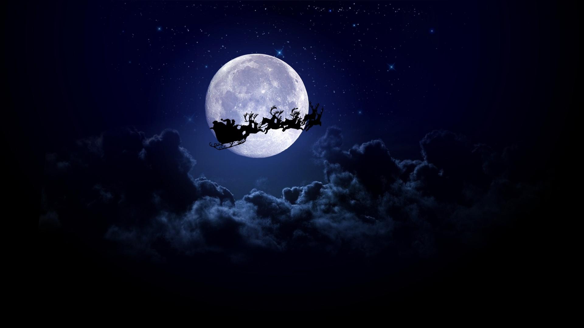 Santa on the Moon Wallpaper