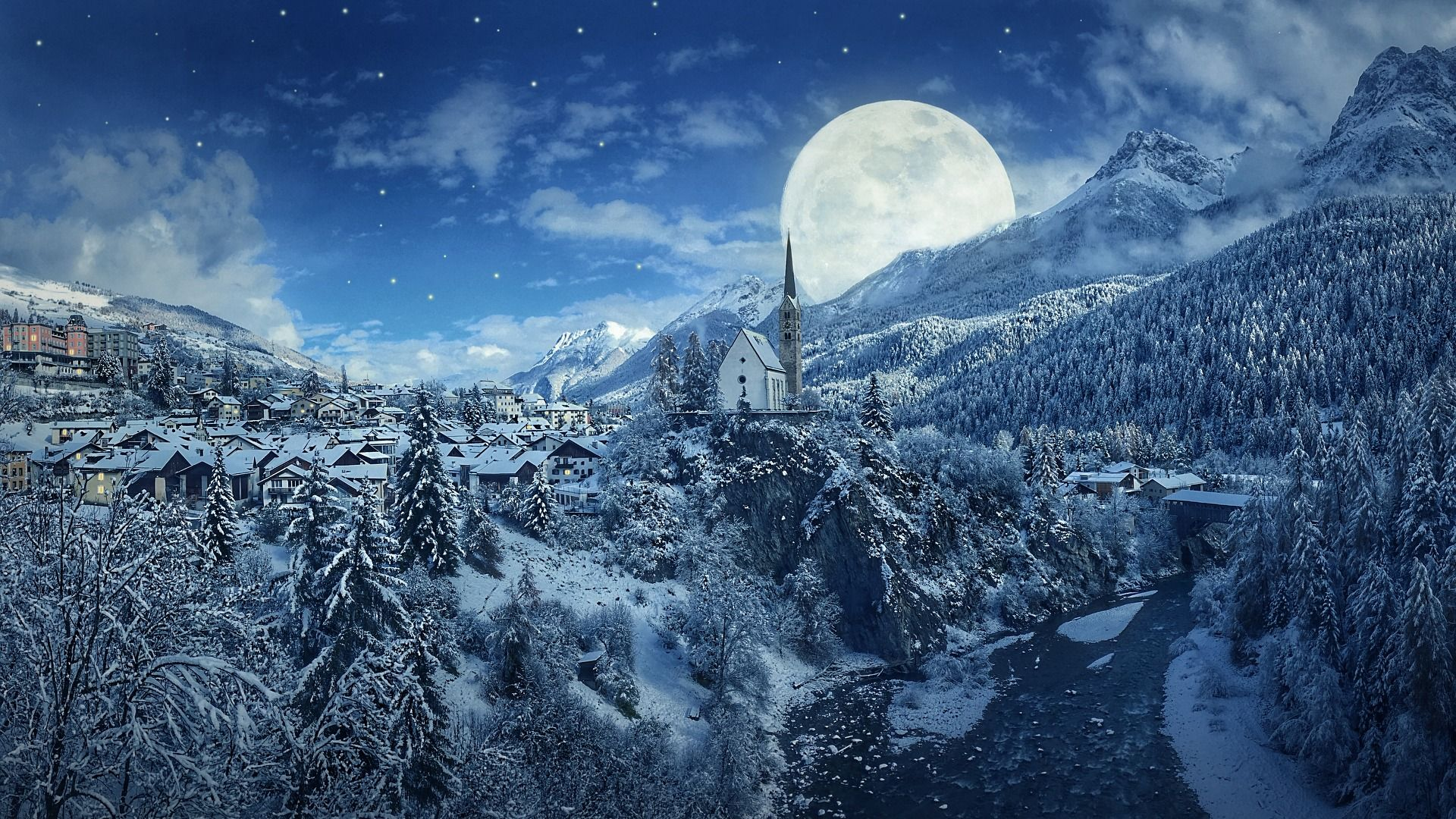 Winter Night Snow Mountains and Moon Wallpaper