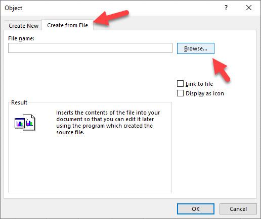 Click vào Browse trong File name rồi chọn file muốn đính kèm vào Excel