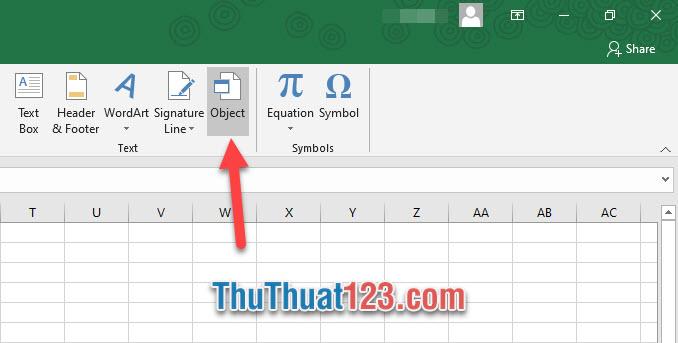 Click vào Object thuộc nhóm Text trong ribbon này
