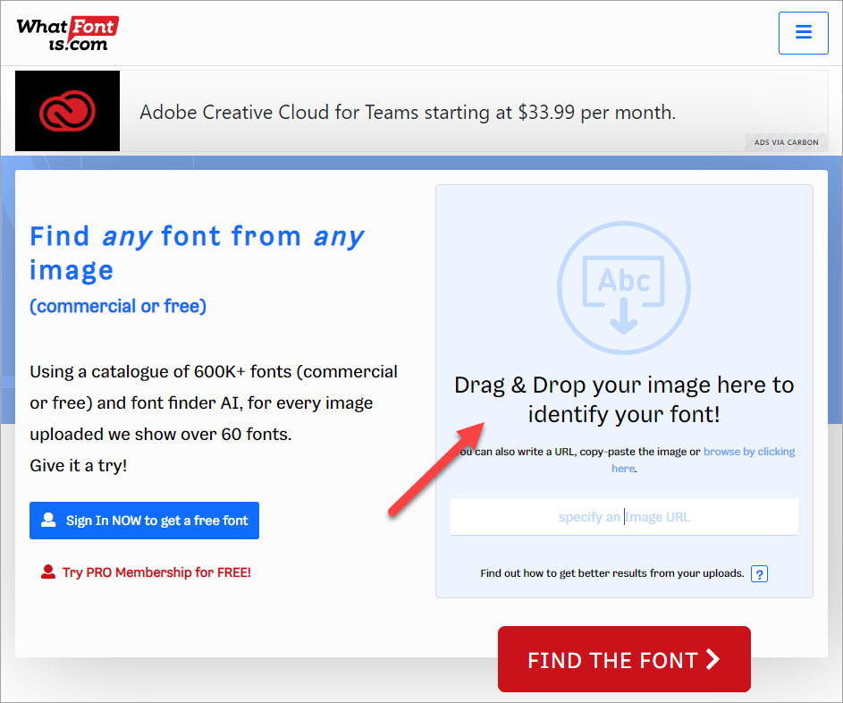 Click vào Drag & Drop your image here to identify your font để có thể tải bức ảnh muốn tìm